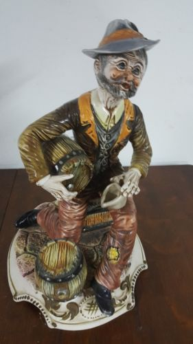 Capodimonte Figurine Large Vintage Hobo on crate ( Italy )