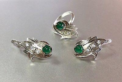 Vintage Russian Soviet Sterling Silver Chrysoprase/CZ Earrings Ring 6.5 set