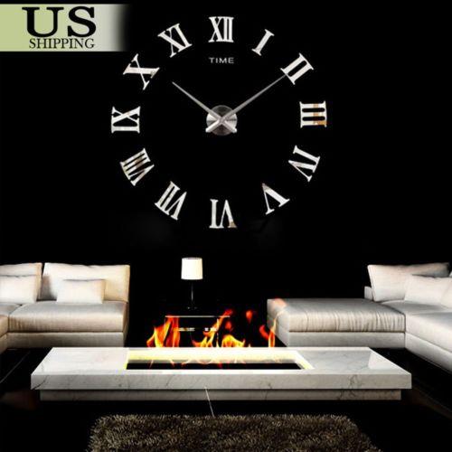 Modern Design Home Decor 3D DIY Time Wall Digit Number Room Decoration Clock FH