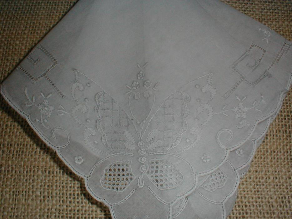 Antique Madeira Butterfly Embroidered Handkerchief/Hankie Bridal/Collection