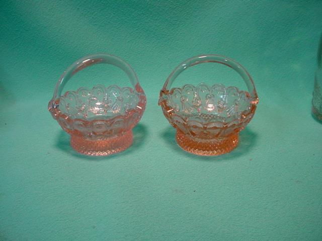 A Set of Pink Glass Ring Baskets