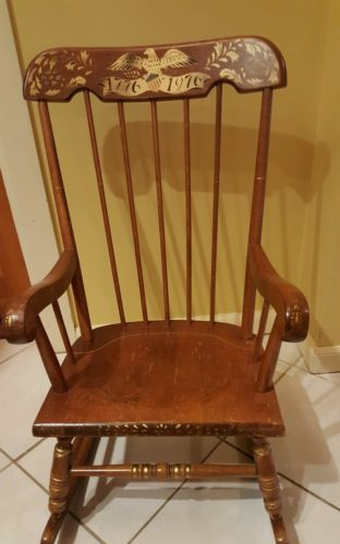 VINTAGE ANTIQUE SOLID WOOD  CHILD'S ROCKING CHAIR