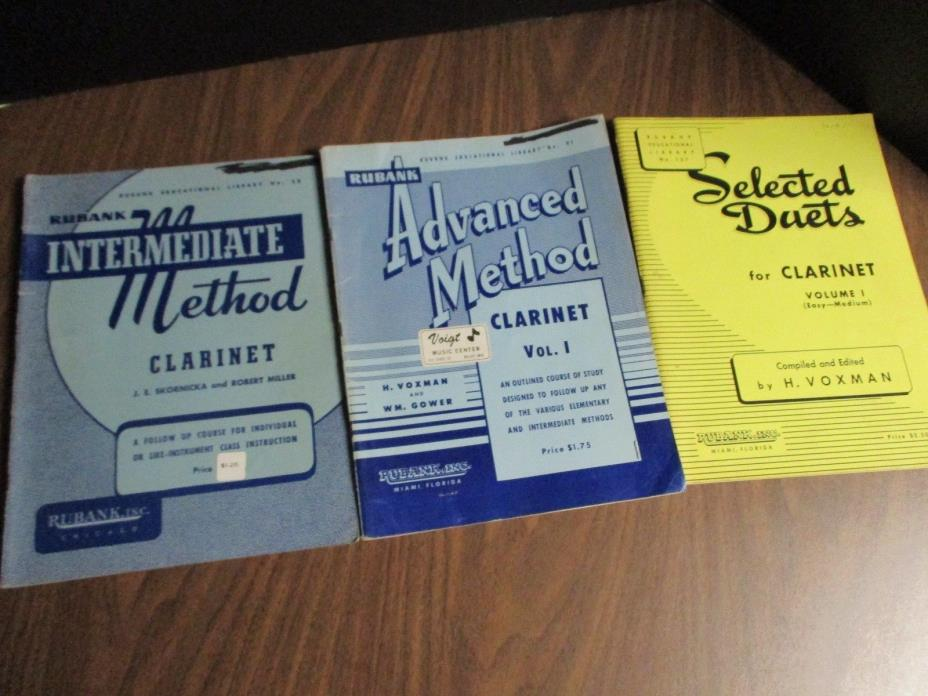 Clarinet Practice Book Lot of 3 Rubank, Intermed, Advanced and Duets