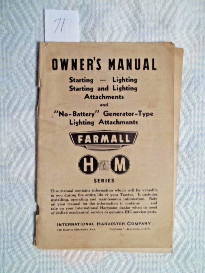 Vintage Farmall Manual. Starting and Lighting Attachments.