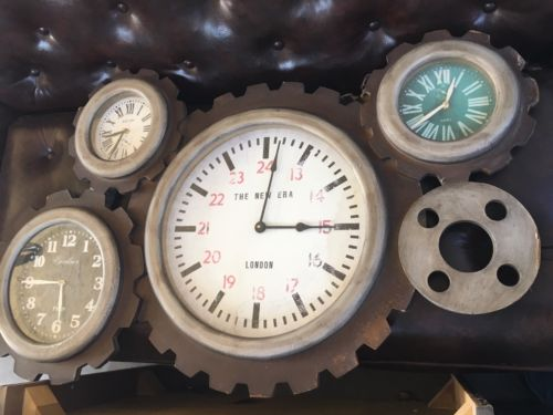 Wall Clock Gear Art Rustic Metal Steampunk Industrial Decor Large Home Garage