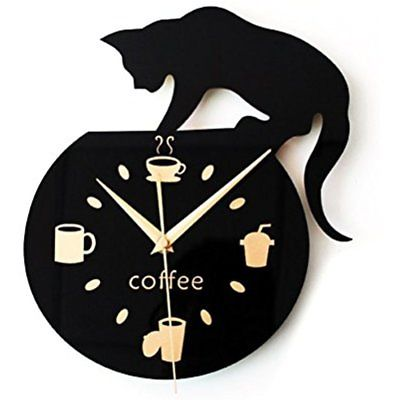 Silent Wall Clocks Cartoon Cute Climbing Cat For Drinking Coffee Decoration Cup