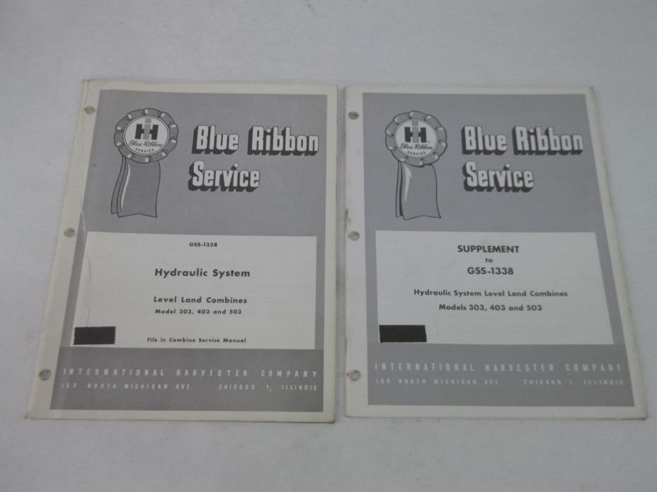 International Harvester 303 403 503 Combine Hydraulic System Service Manual