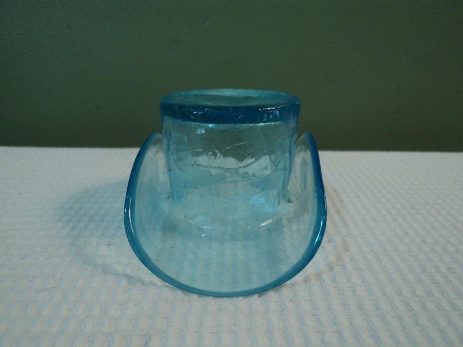 Vintage Crackle Glass Ice Blue Top Hat Trinket Holder