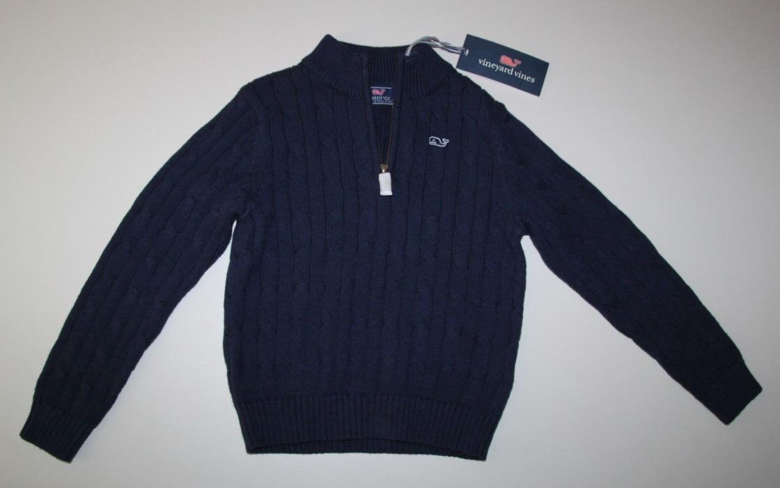 NWT Vineyard Vines Nautical Navy 1/4 Zip Cardigan Sweater Girls 5 (5T)