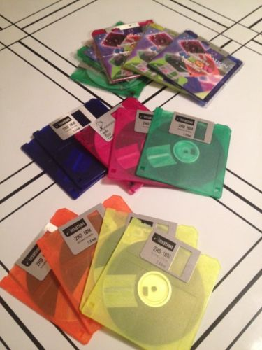 NEW 14 Imation Neon Colors 2HD diskettes IBM formatted Vintage Samples NOS
