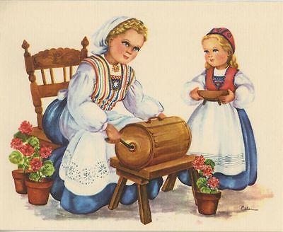 VINTAGE BUTTER CHURN GERANIUM FLOWER CRESCENTS RECIPE 1 KITCHEN BEAR TEAPOT CARD
