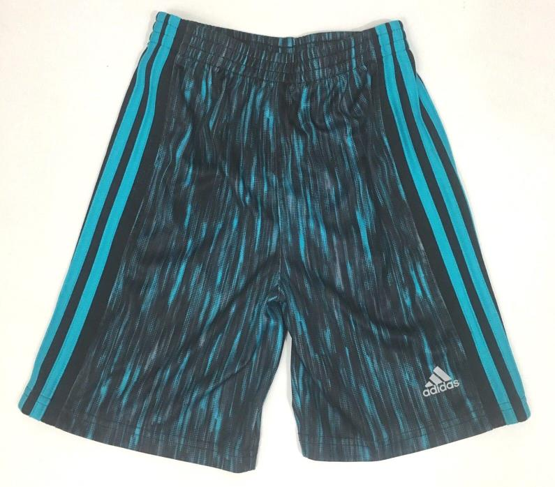 Adidas Boys Size 6 Athletic Shorts Basketball Track Striped Logo Black Gym Kids