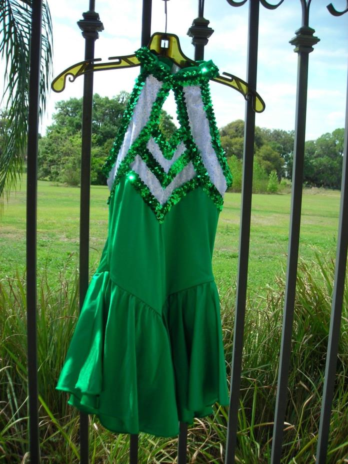 Ice Skating Baton Twirling Costume Adult Large Kelly Green White Sequins
