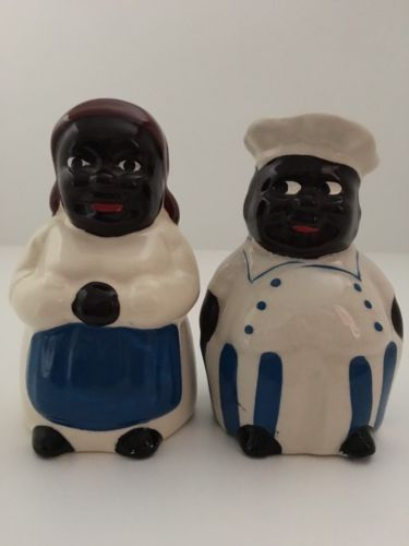 Black Americana Man And Woman Salt And Pepper Shaker
