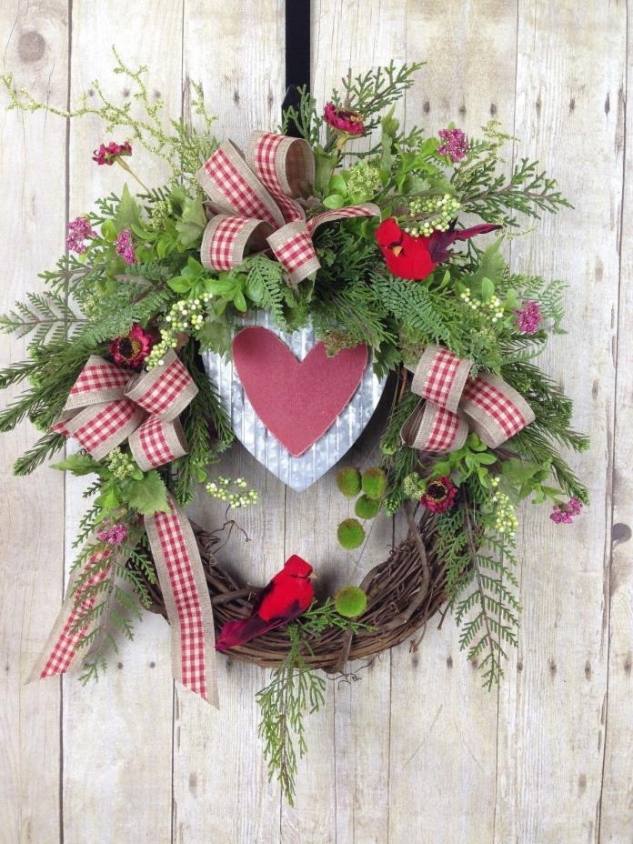 VALENTINES WREATH, VALENTINES DAY DECOR, HEART WREATH, WINTER WREATH, CARDINALS