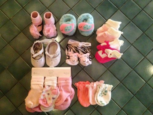 Baby Infant Girl Socks, shoes, slippers, Mittens Lot NEW & used!