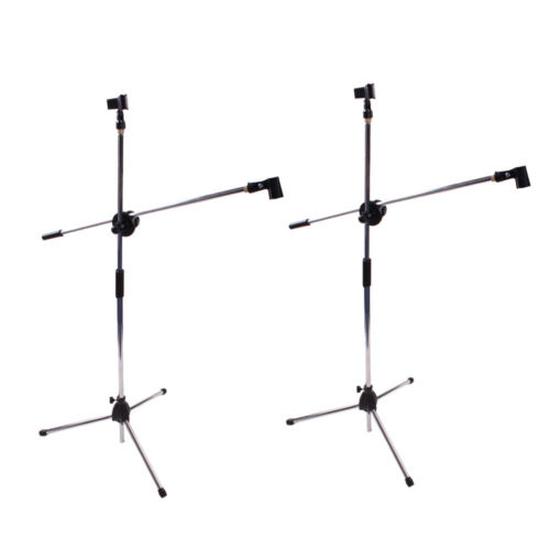 2 x Microphone Stand Mic Clip Rotating Folding Type Boom Arm Tripod Metal