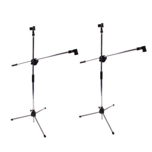 2 x Microphone Stand Mic Clip Rotating Folding Type Boom Arm Tripod Metal