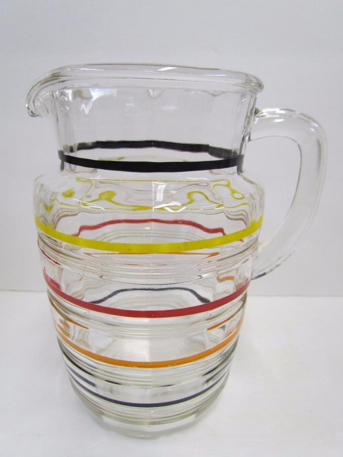 Vintage Etched Glass Striped Pitcher Yellow Black Red Orange Stripes