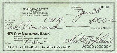 NASTASSJA KINSKI Signed Check