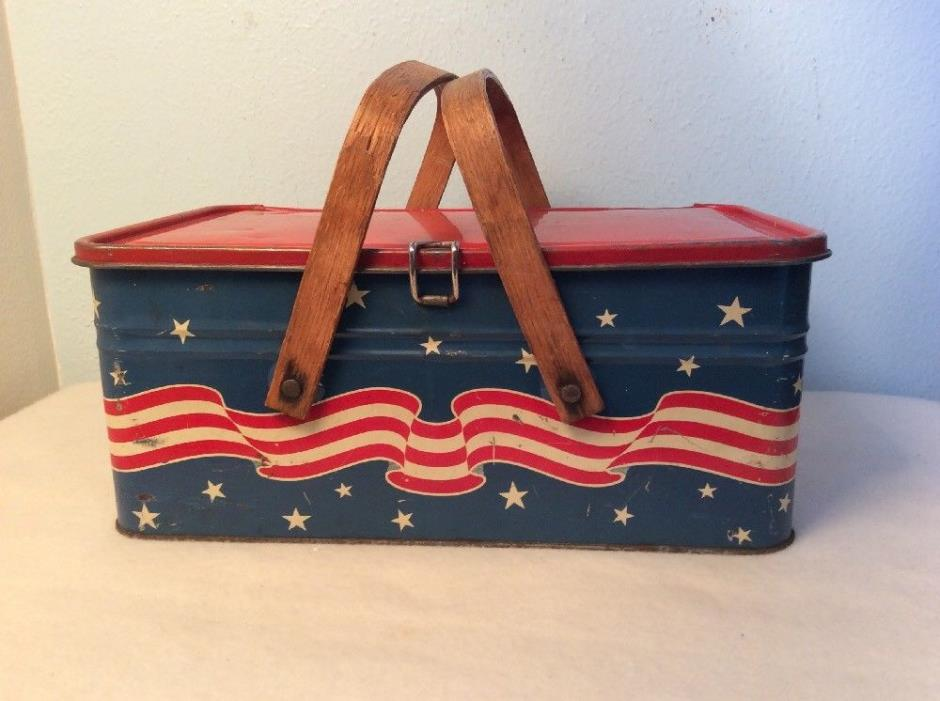 Golden Cookies Watertown Mass. Red White Blue Patriotic Cookie Tin Bread Box