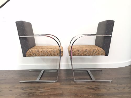 Pair Of Cy Mann Flatbar Chrome Brno Style Chairs Mies Van Der Rohe Knoll