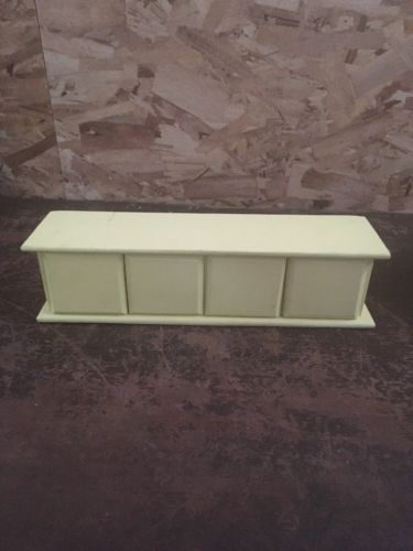 "vintage pale yellow storage drawer cabinet 3.5""x14""x3.5"""