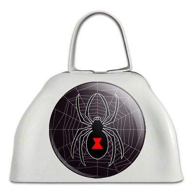 Black Widow Spider on Web White Metal Cowbell Cow Bell Instrument