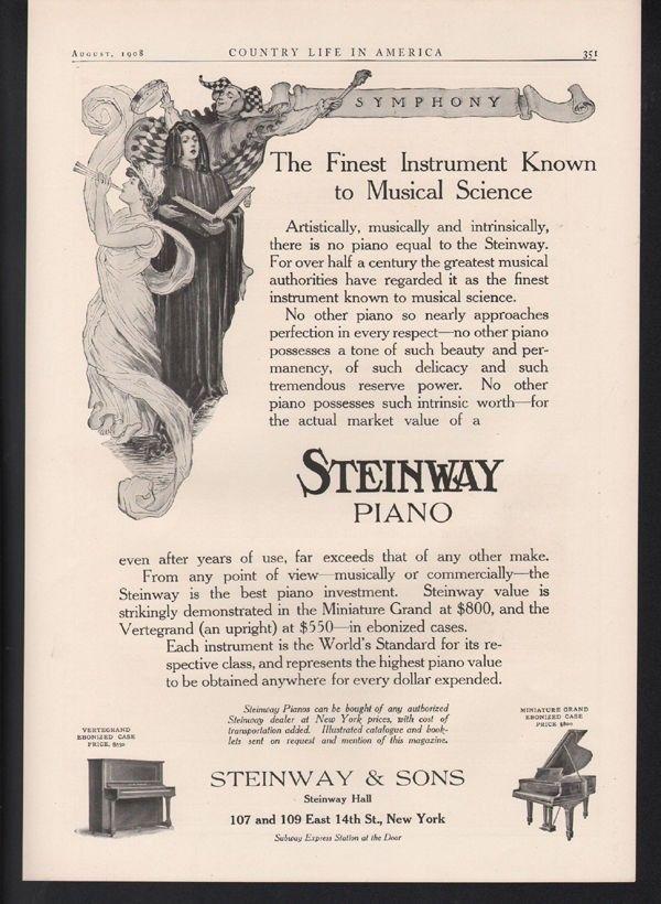 1908 STEINWAY PIANO MUSIC DANCE MINIATURE GRAND UPRIGHT JESTER INSTRUMENT 22562