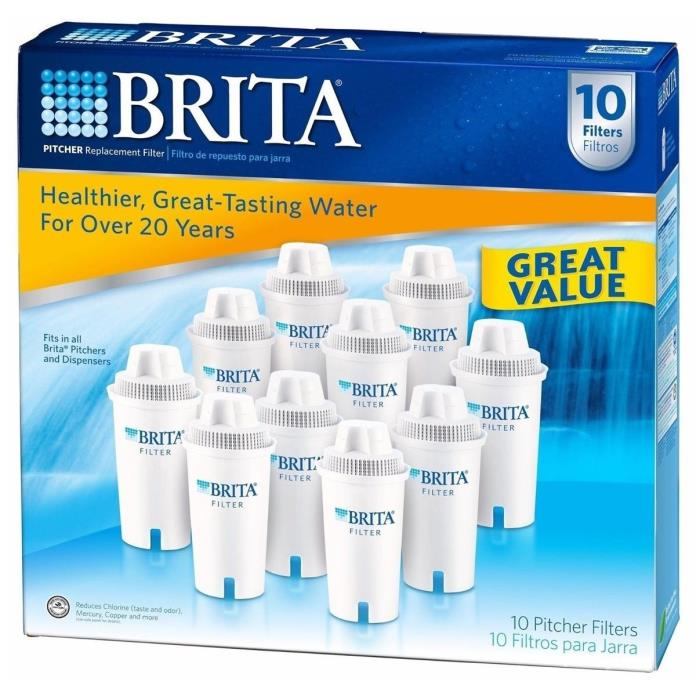 Brita Water Pitcher 10 Replacement Filters - NEW