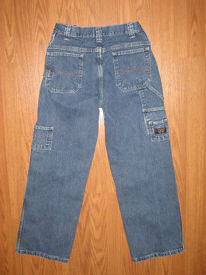 NICE BOY'S WRANGLER CARPENTER UTILITY DENIM JEANS  ADJUST WAIST  SZ 14R  ~EUC~