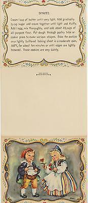 VINTAGE SWEDISH BAKER SPRITZ COOKIE RECIPE PRINT 1 TEDDY BEARS WATERMELON  CARD