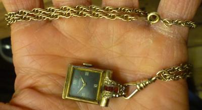 I12 Vtg Swiss Buren 12K on S.S. Pendant Watch on a 1/20-12K Chain, Not Working.