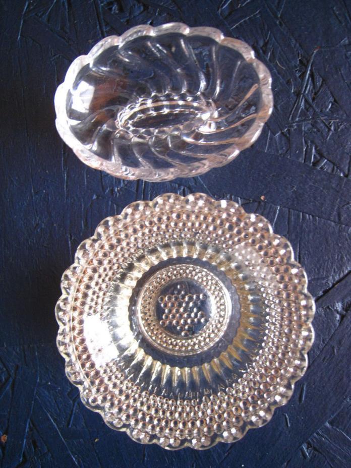 5 Antique/Vintage EAPG-GLASS MASTER SALT CELLARS-1 BEADED STAR & 4 FOSTORIA (?)