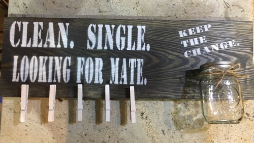 Clean. Single. Lookig For Mate. Laundry wall decor. Wood sign. Roughly 2ftx8in
