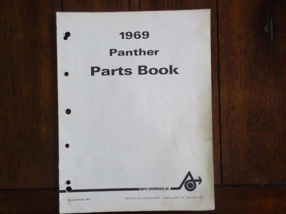 Vintage 1969 Arctic Cat Panther Snowmobile Parts Book Manual