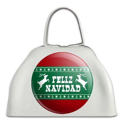 Feliz Navidad with Deer Merry Christmas White Metal Cowbell Cow Bell Instrument