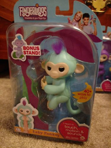 Fingerlings ZOE Turquoise Interactive Pet Toy Baby Monkey by WowWee - Authentic