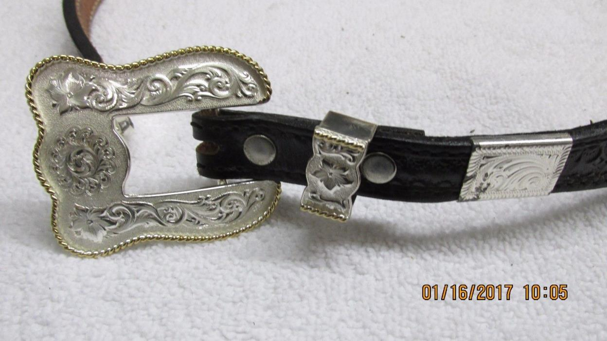 Montana Silversmith Belt Buckle & Leather Belt 26, 922-1, DOUBLE J
