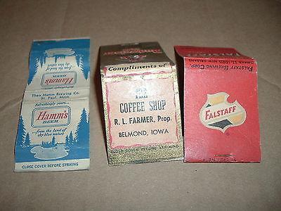 Lot of 3 Old Vintage Beer Matchcovers Falstaff Budweiser Hamm's