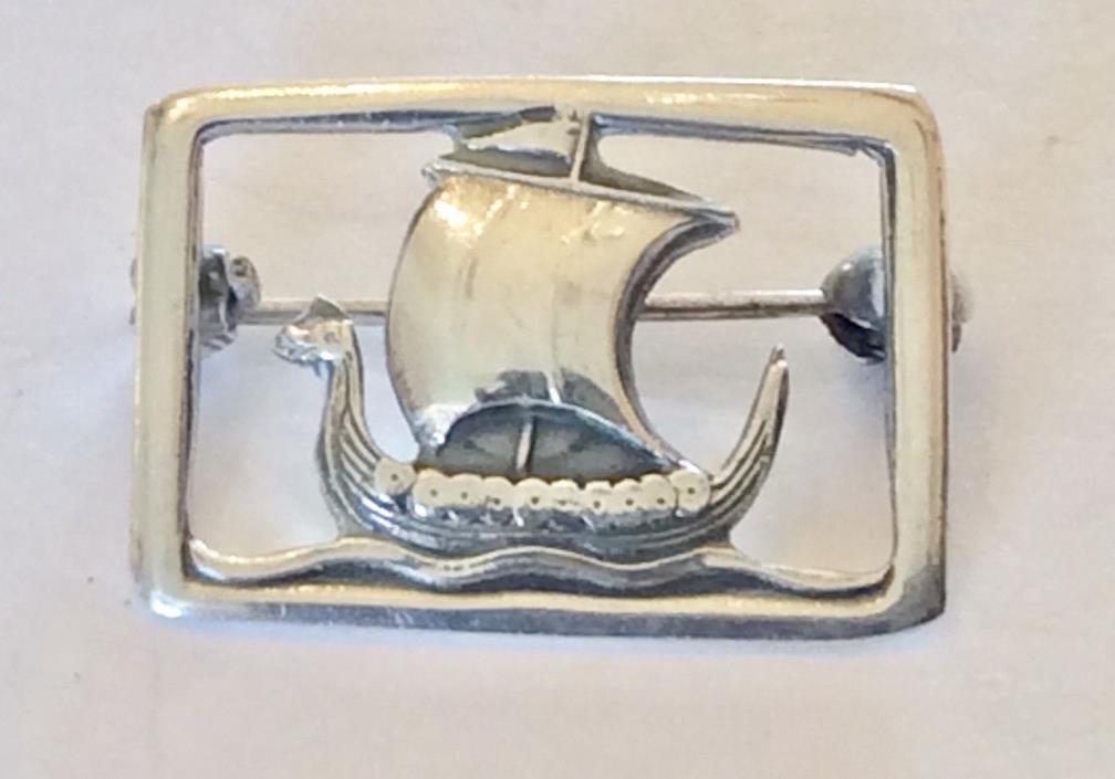 Vintage Signed Sterling Silver Carl Ove Frydensberg Denmark Viking Ship Pin