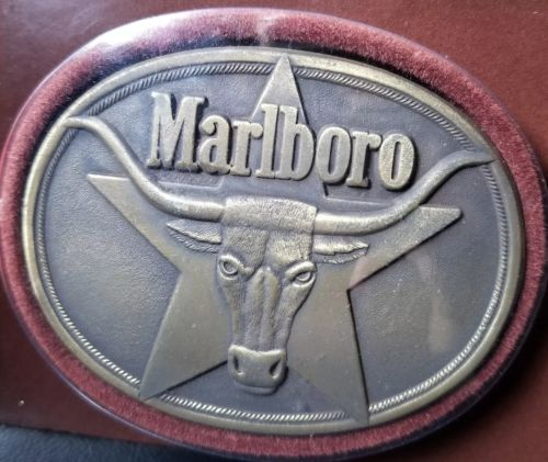 1987 Philip Morris Solid Brass MARLBORO Cigarette Belt Buckle Longhorn Steer NEW