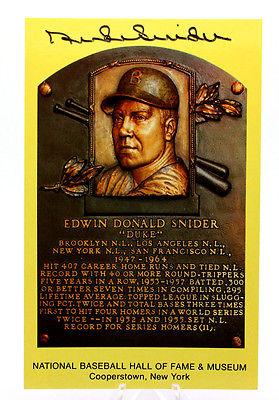 DUKE SNIDER Signed HOF Plaque Yellow Card Postcard index Baseball Autograph 3