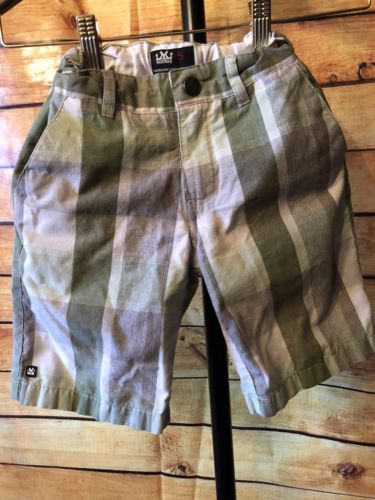 Mickos Plaid Boys Shorts Green & Adjustable Waistband Size 5