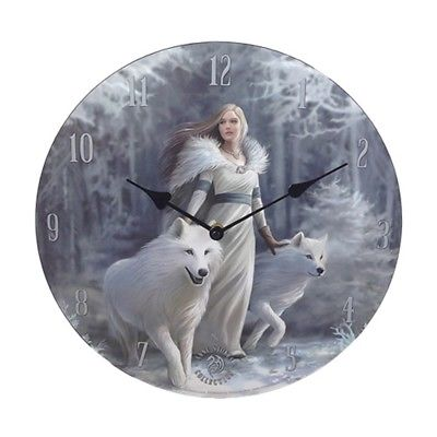 WINTER GUARDIAN WALL CLOCK by ANNE STOKES 13 1/4