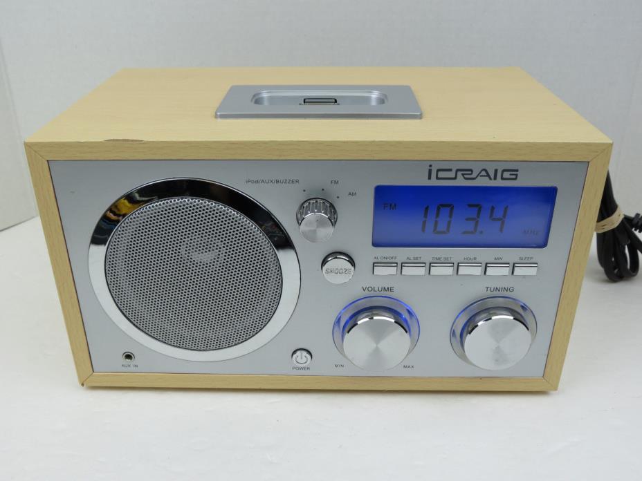 iCraig Retro iPod / iPhone Docking Alarm Clock Radio  wAux Input CMA3036