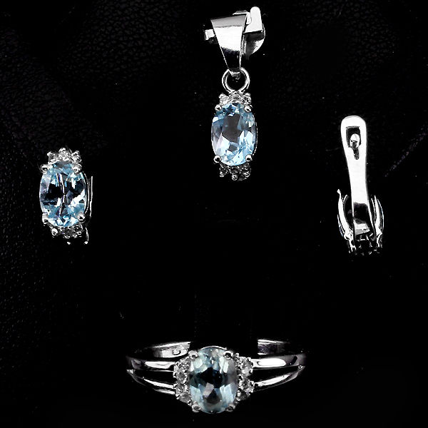 GENUINE OVAL 7x5mm TOP SKY BLUE TOPAZ, CZ ACCENTS 925 SILVER 4Pcs. SET ChainFree
