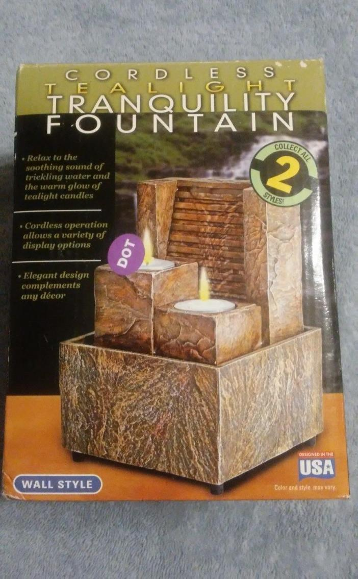 Cordless Tranquility Fountain- Wall Style w/ Tea Lights (New in Box, Never Used)