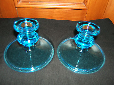 LOVELY VINTAGE BLUE GLASS CANDLE HOLDERS--EXCELLENT CONDITION