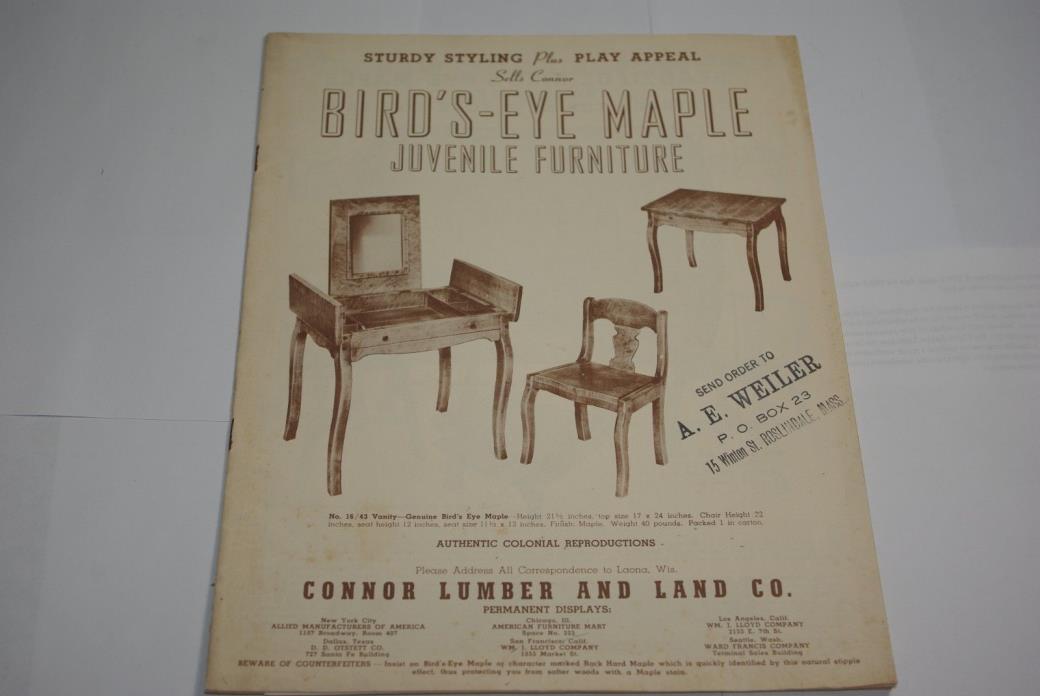 Vintage 1930s Birds-Eye Maple Juvenile Furniture Catalog Conner Lumber & Land CO
